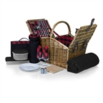 Somerset Picnic Basket for 2 - Red/Black Buffalo Plaid