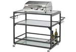 Outdoor Great Room Electric Grill with Glass Bistro Cart