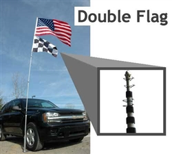14' telescoping flag pole with stand