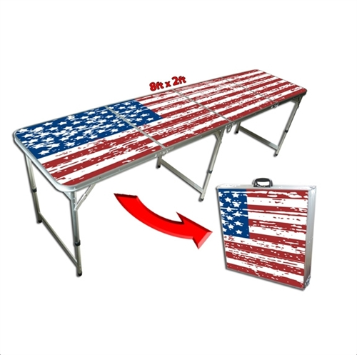 4 Foot Tall Table 8 Foot Portable Folding American Flag Camp Tailgate Table