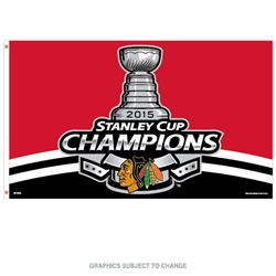 Chicago Blackhawks 3'x 5' Flag - 2015 Stanley Cup Champs